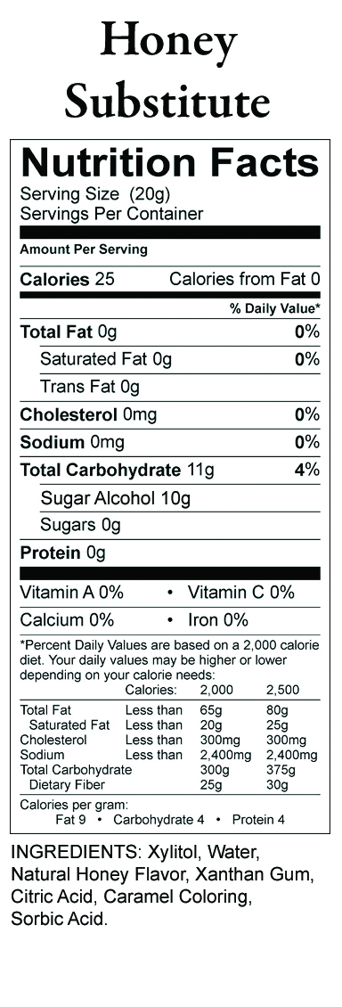 Nature S Hollow Honey Substitute Nutrition Facts